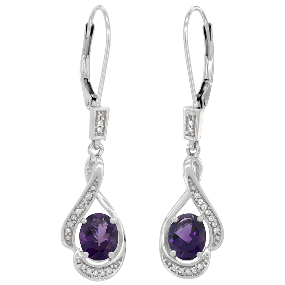 14K White Gold Diamond Natural Amethyst Leverback Earrings Oval 7x5 mm, 1 7/16 inch long
