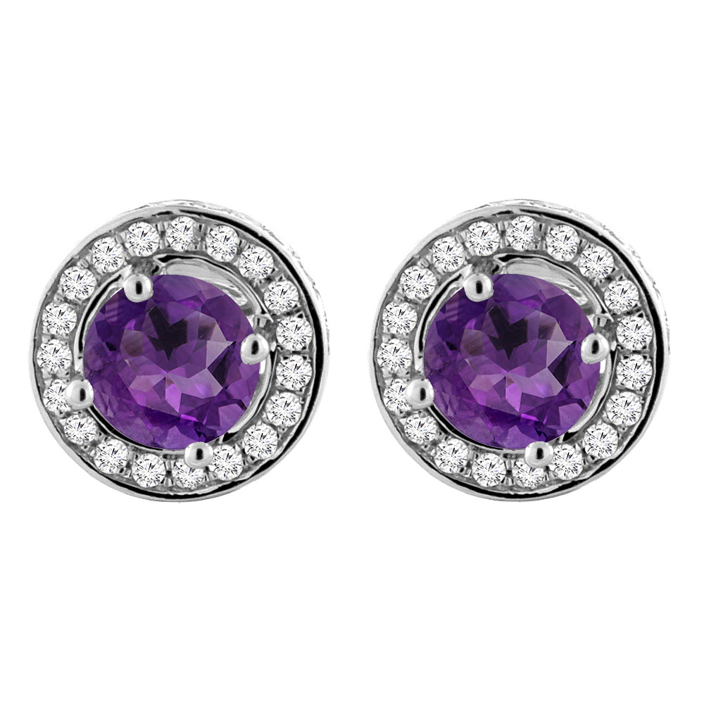 14K White Gold Natural Amethyst Earrings with Diamond Halo Round 5 mm