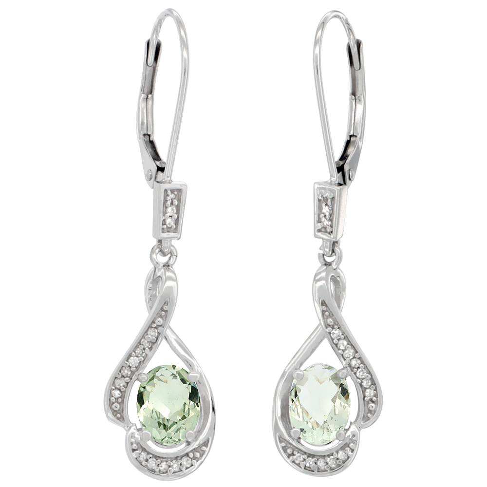 14K White Gold Natural Green Amethyst Oval 7x5 mm Lever Back Earrings, 1 7/16 inch long