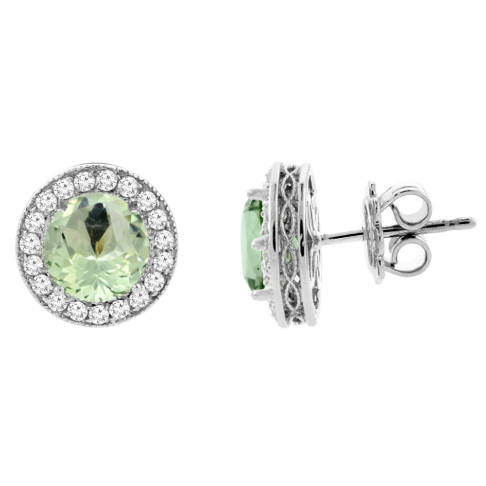 14K White Gold Natural Green Amethyst Halo Earrings with Diamond Accent, 1/4 inch wide