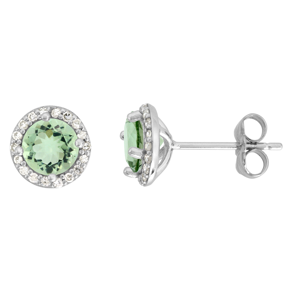 14k White Gold Diamond Halo Genuine Green Amethyst Stud Earrings Round 6mm