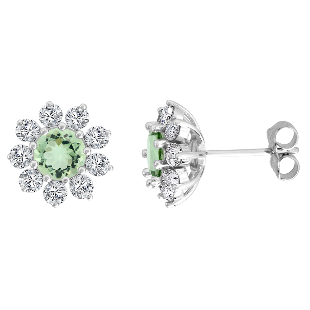 14k White Gold Diamond Halo Genuine Green Amethyst Halo Stud Earrings Round 6mm 7/16 inch wide