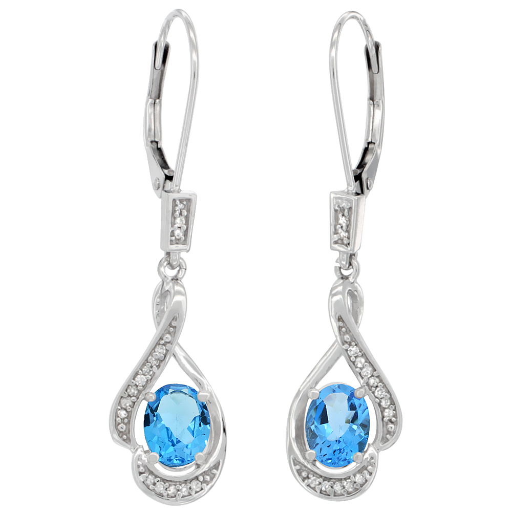 14K White Gold Diamond Natural Swiss Blue Topaz Leverback Earrings Oval 7x5mm, 1 7/16 inch long