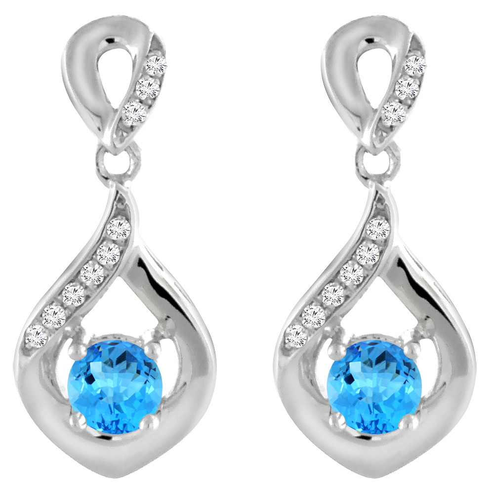 14K White Gold Natural Swiss Blue Topaz Earrings with Diamond Accents Round 4 mm