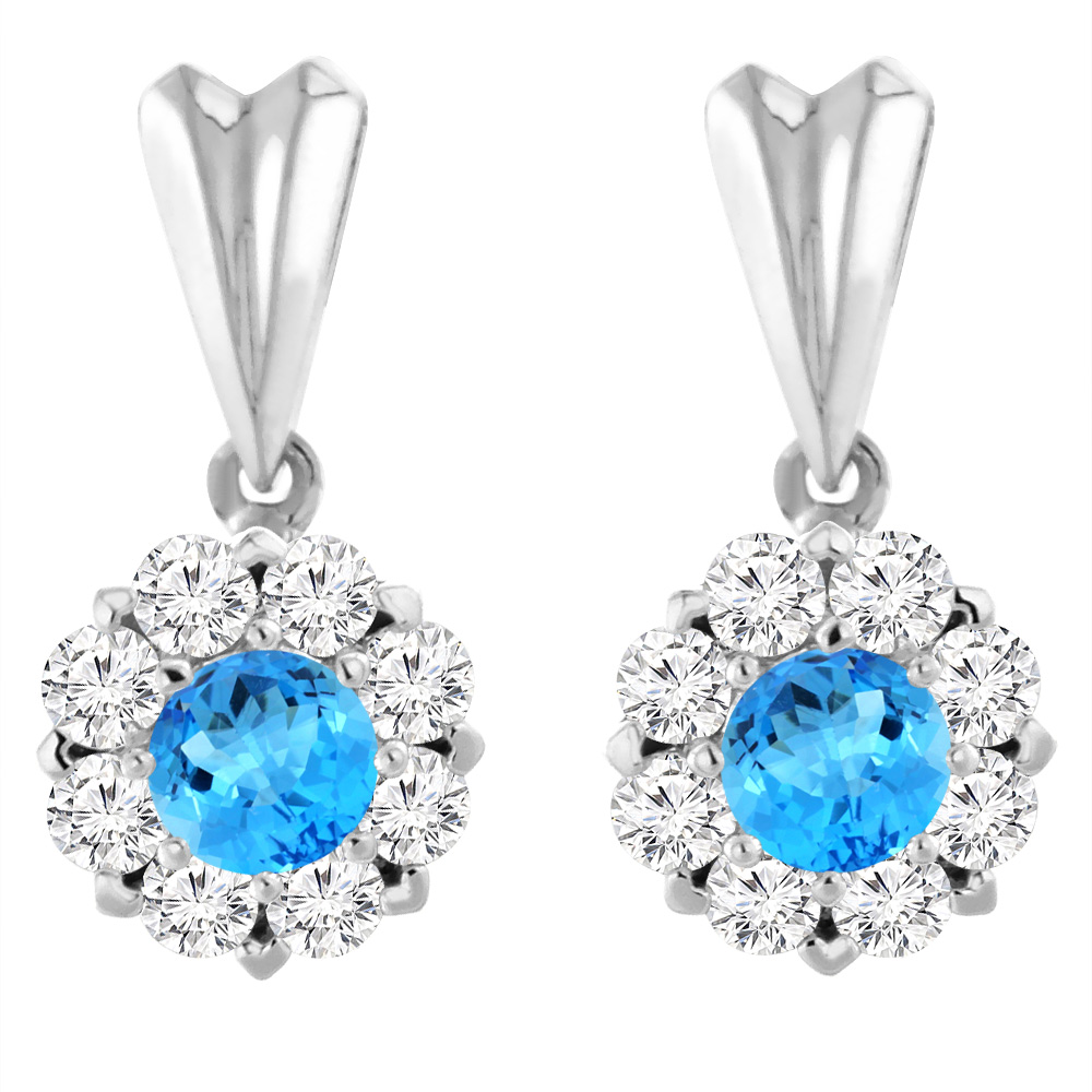 14K White Gold Natural Swiss Blue Topaz Earrings with Diamond Halo Round 4 mm