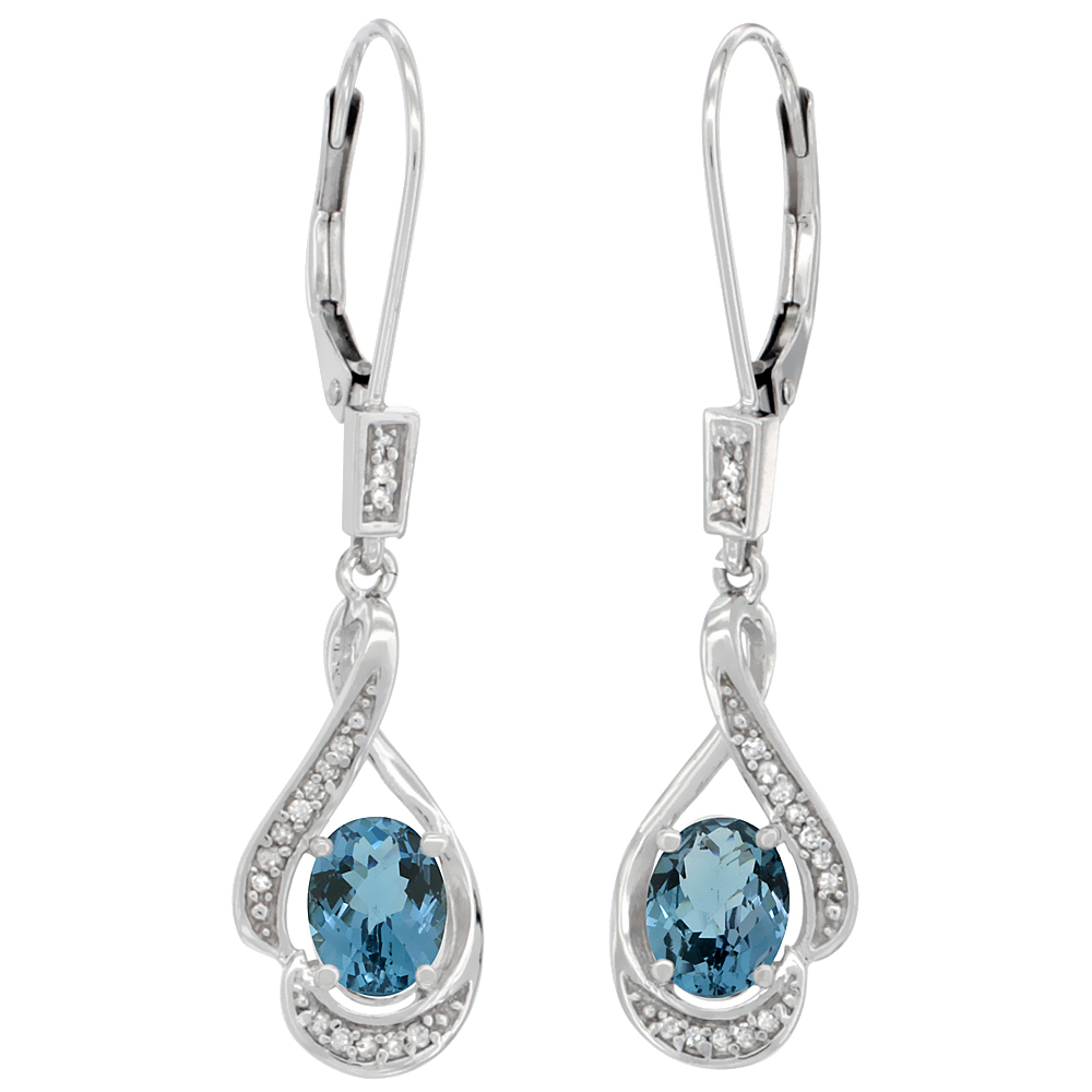 14K White Gold Natural London Blue Topaz Oval 7x5 mm Lever Back Earrings, 1 7/16 inch long