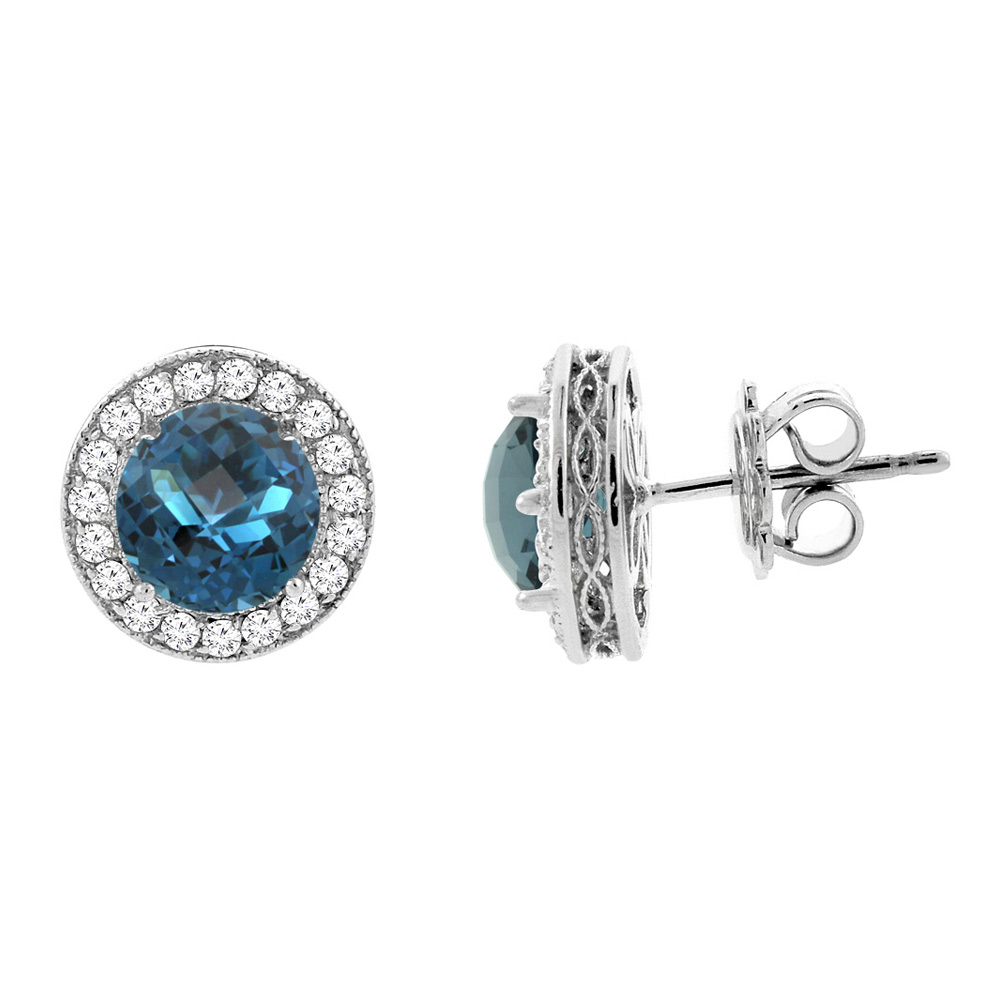 14K White Gold Natural London Blue Topaz Halo Earrings with Diamond Accent, 3/16 inch wide