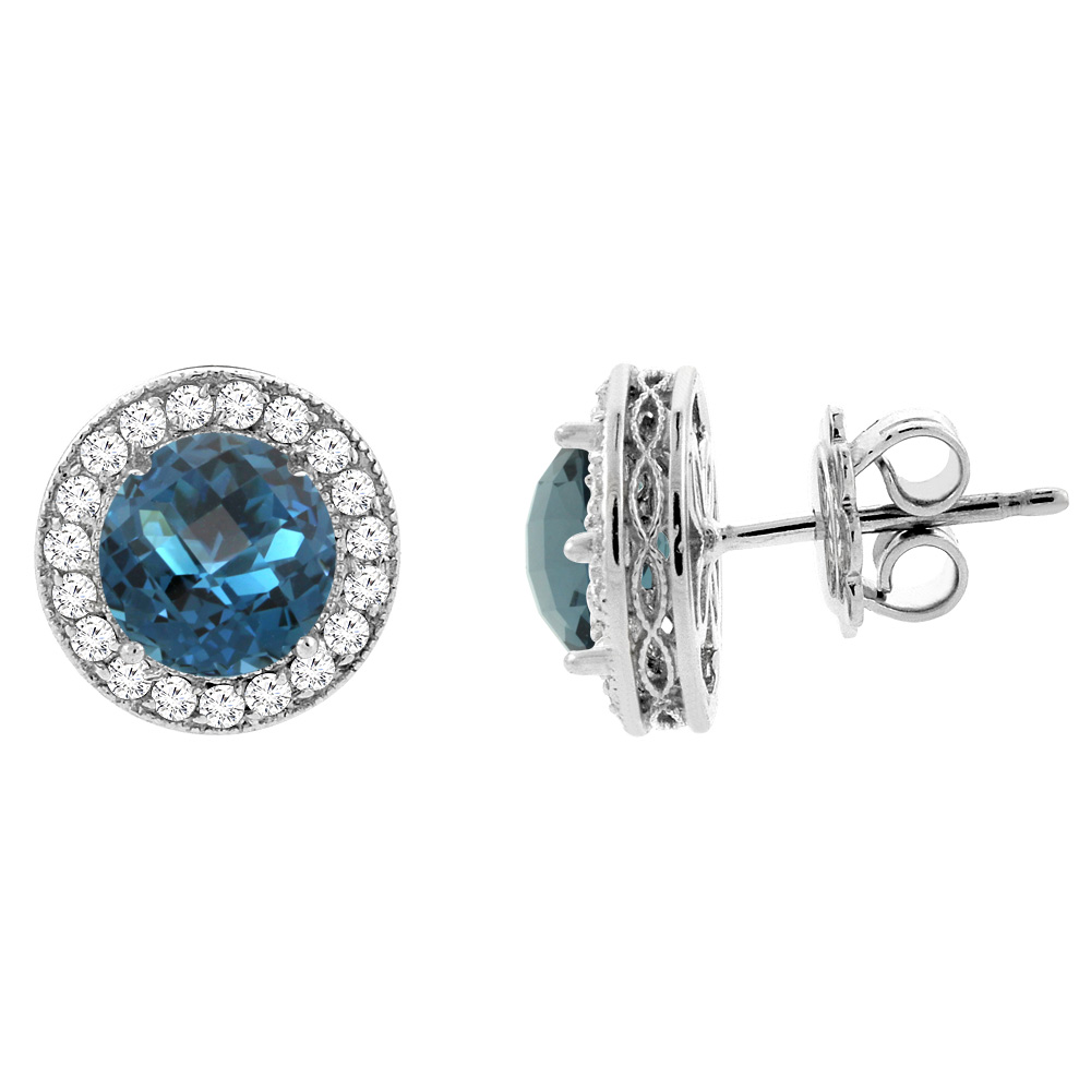 14K White Gold Natural London Blue Topaz Halo Earrings with Diamond Accent, 1/4 inch wide