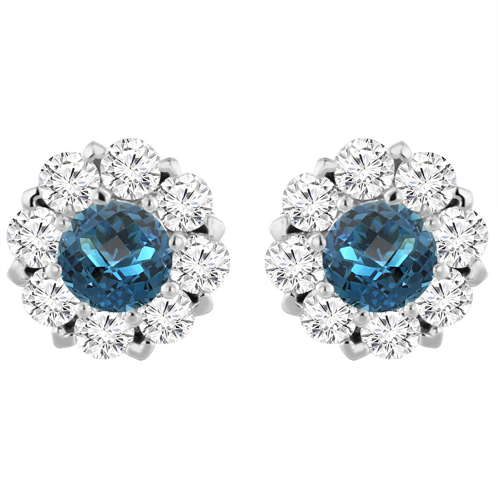 14K White Gold Natural London Blue Topaz Earrings with Diamond Halo Round 6 mm