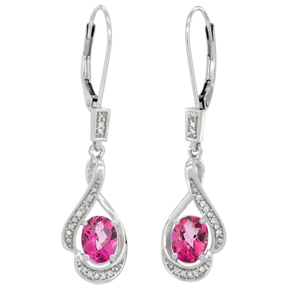 14K White Gold Natural Pink Topaz Oval 7x5 mm Lever Back Earrings, 1 7/16 inch long