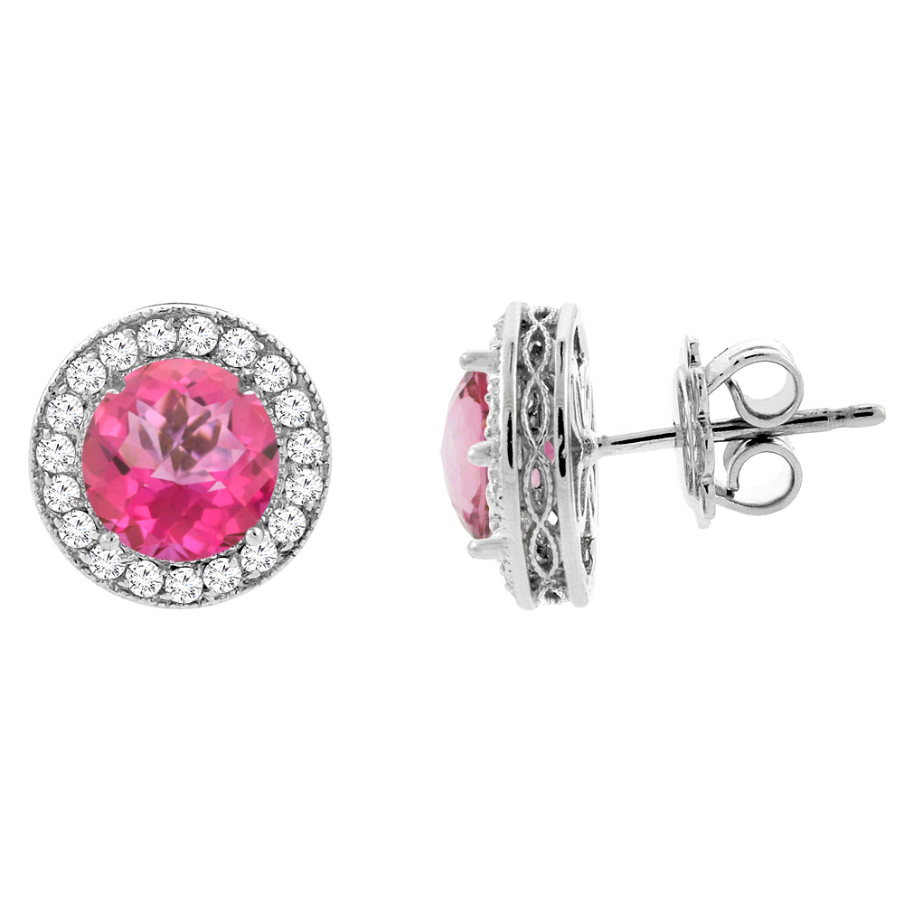 14K White Gold Natural Pink Topaz Halo Earrings with Diamond Accent, 1/4 inch wide