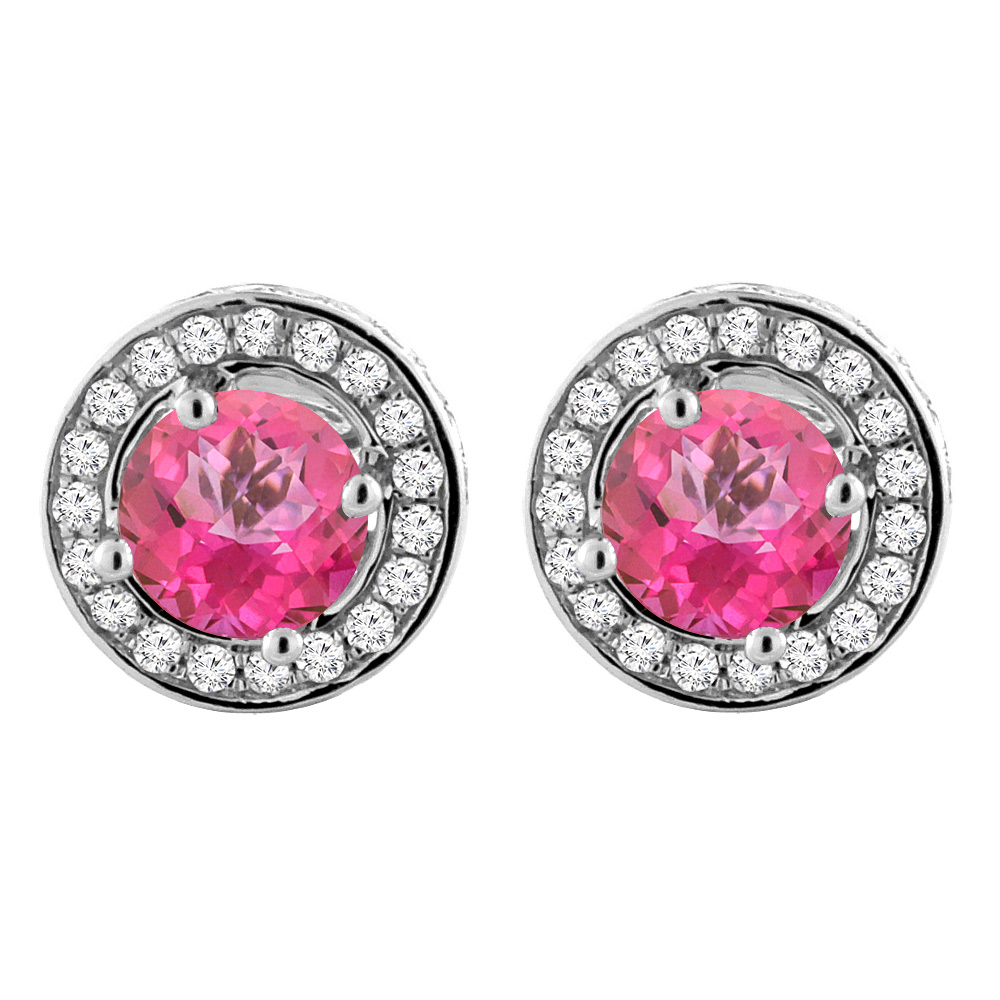 14K White Gold Natural Pink Topaz Earrings with Diamond Halo Round 5 mm