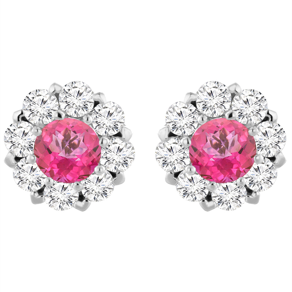 14K White Gold Natural Pink Topaz Earrings with Diamond Halo Round 6 mm