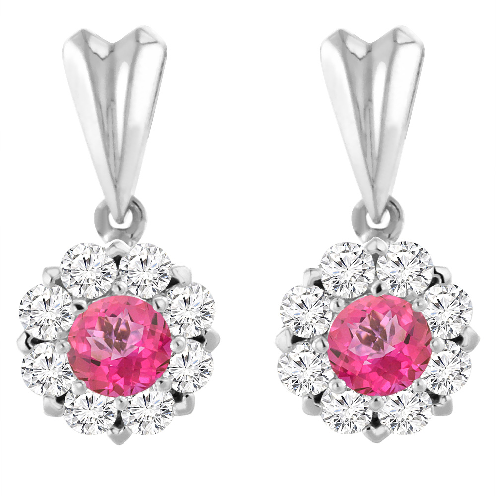 14K White Gold Natural Pink Topaz Earrings with Diamond Halo Round 4 mm