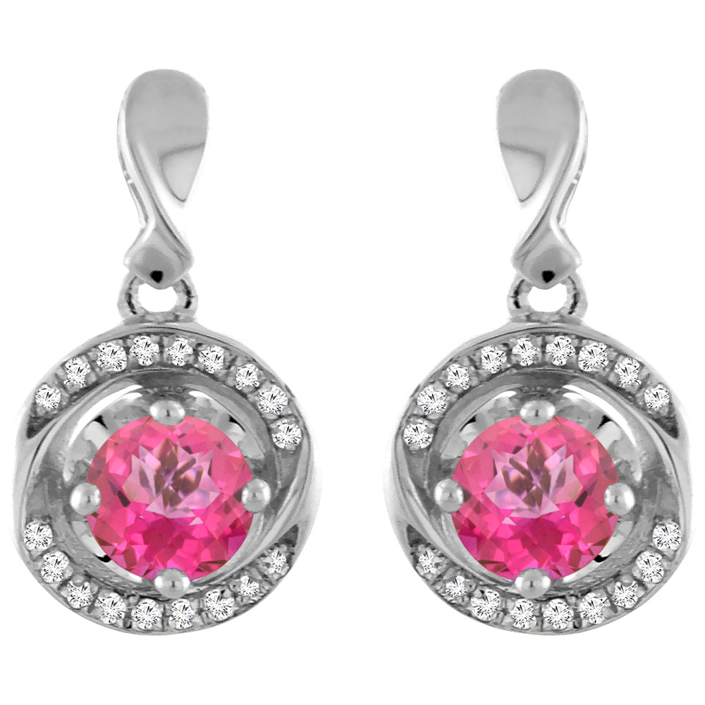 14K White Gold Natural Pink Topaz Earrings with Diamond Accents Round 4 mm