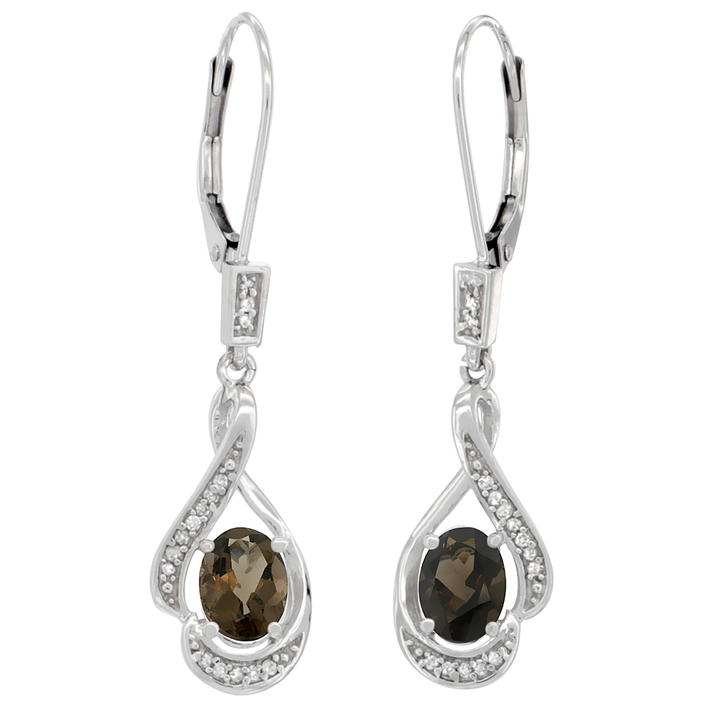 14K White Gold Natural Smoky Topaz Oval 7x5 mm Lever Back Earrings, 1 7/16 inch long