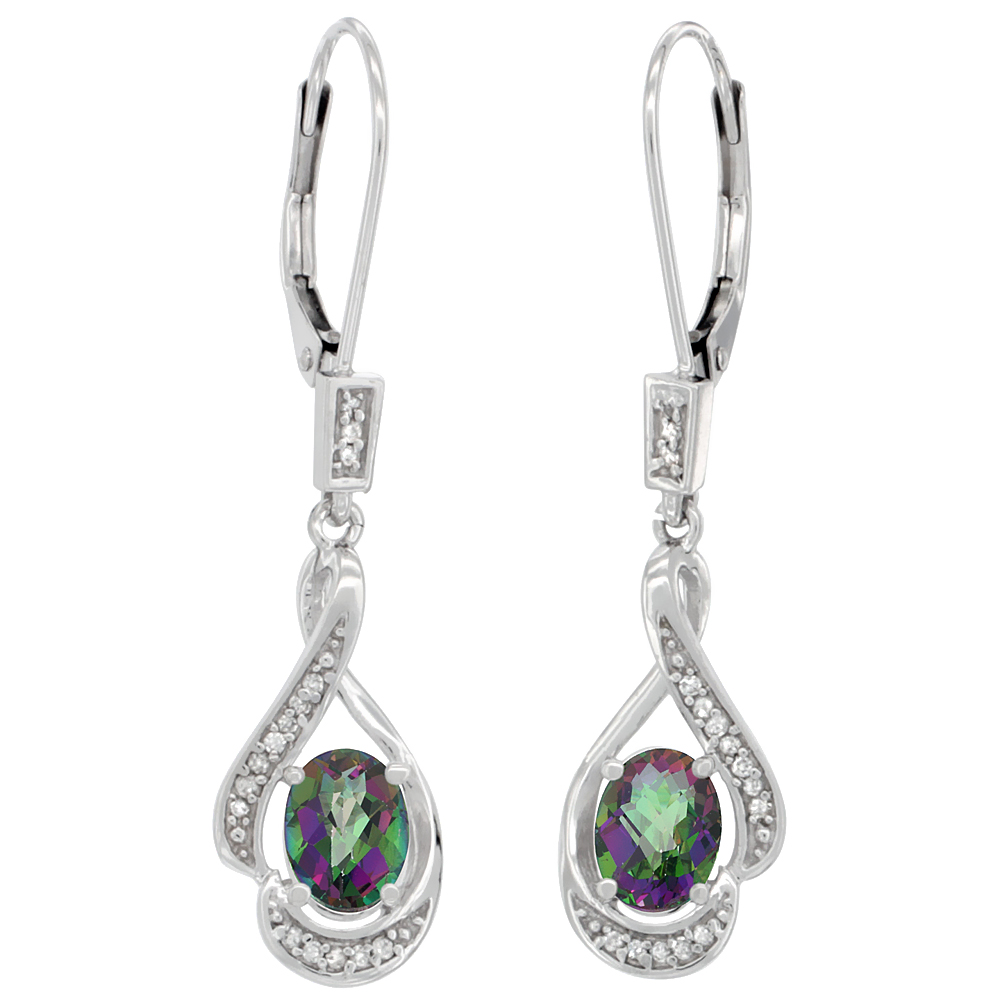 14K White Gold Diamond Natural Mystic Topaz Leverback Earrings Oval 7x5 mm, 1 7/16 inch long