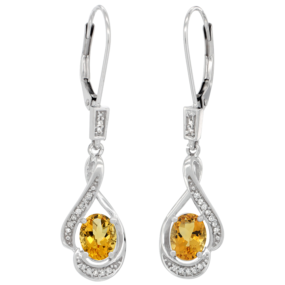 14K White Gold Natural Citrine Oval 7x5 mm Lever Back Earrings, 1 7/16 inch long