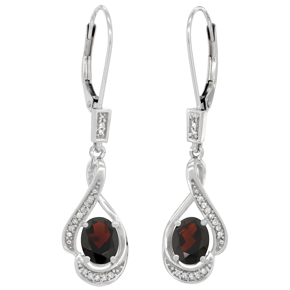 14K White Gold Diamond Natural Garnet Leverback Earrings Oval 7x5 mm, 1 7/16 inch long