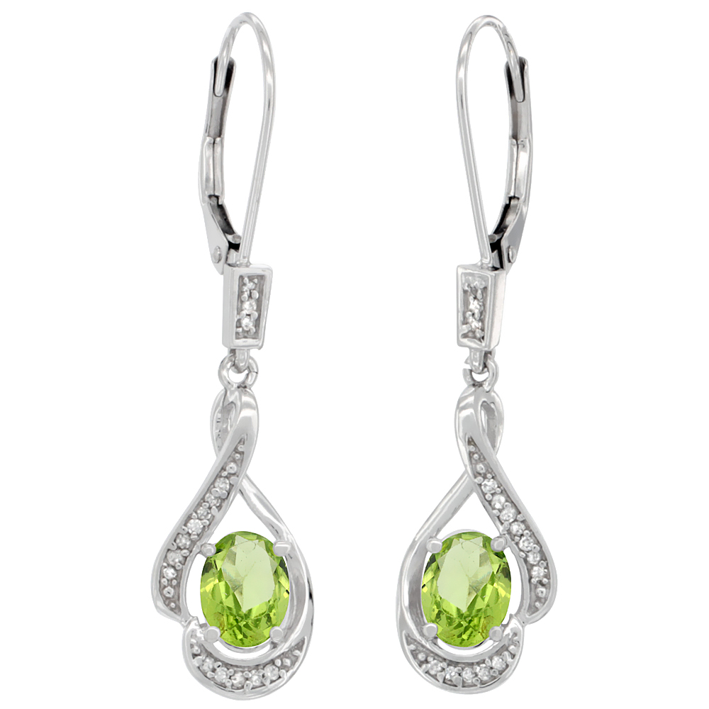 14K White Gold Diamond Natural Peridot Leverback Earrings Oval 7x5 mm, 1 7/16 inch long