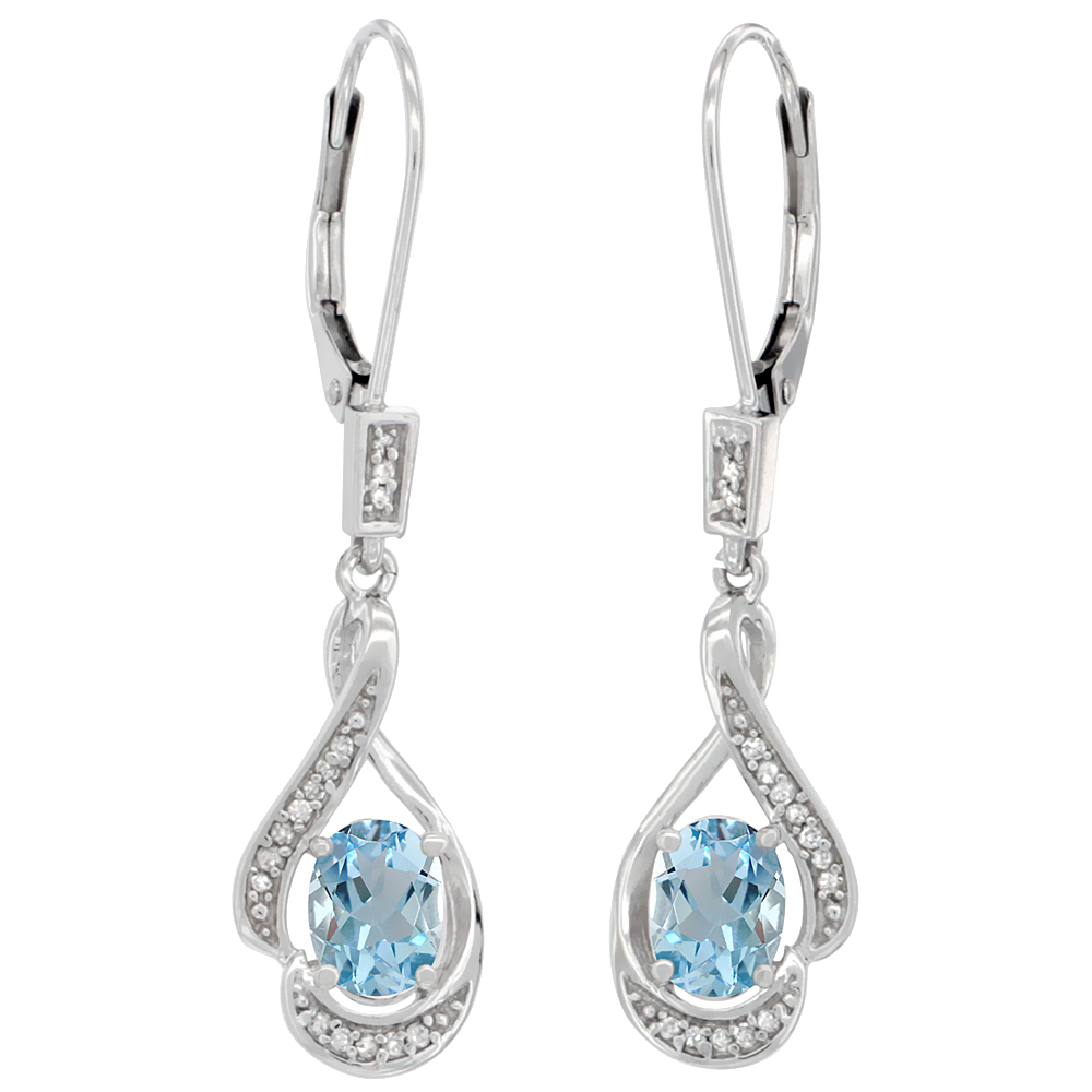 14K White Gold Diamond Natural Aquamarine Leverback Earrings Oval 7x5 mm, 1 7/16 inch long