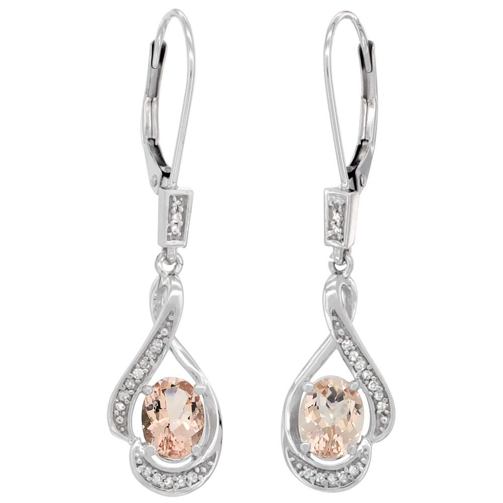 14K White Gold Natural Morganite Oval 7x5 mm Lever Back Earrings, 1 7/16 inch long