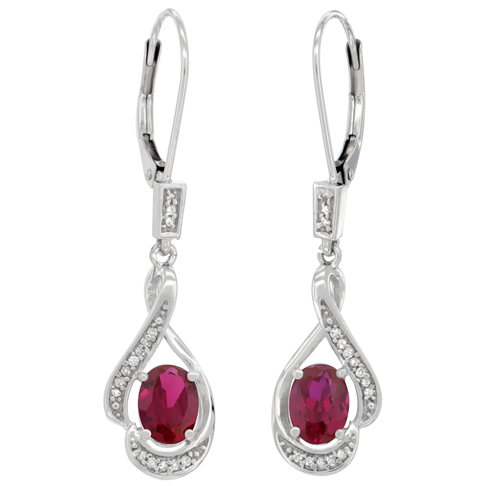 14K White Gold Enhanced Ruby Oval 7x5 mm Lever Back Earrings, 1 7/16 inch long