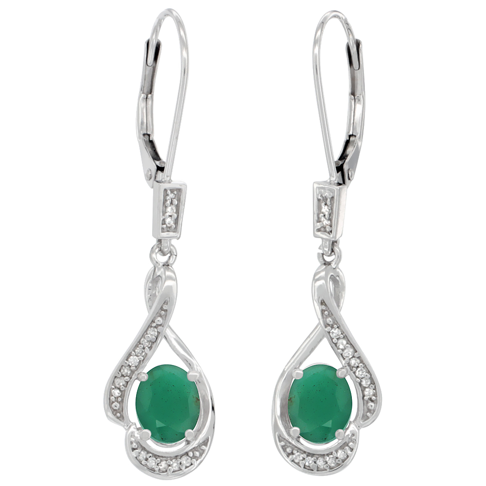 14K White Gold Natural Emerald Oval 7x5 mm Lever Back Earrings, 1 7/16 inch long