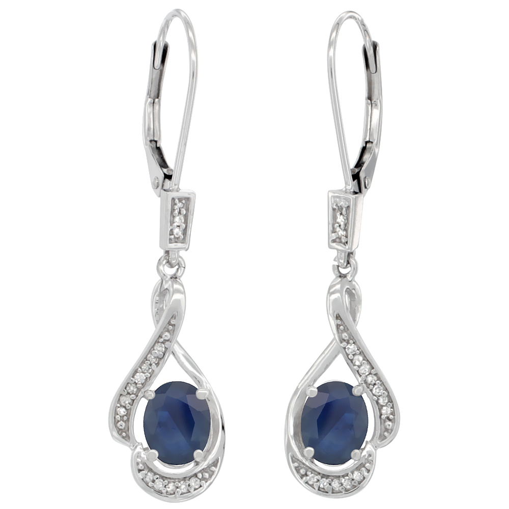 14K White Gold Diamond Natural Blue Sapphire Leverback Earrings Oval 7x5 mm, 1 7/16 inch long