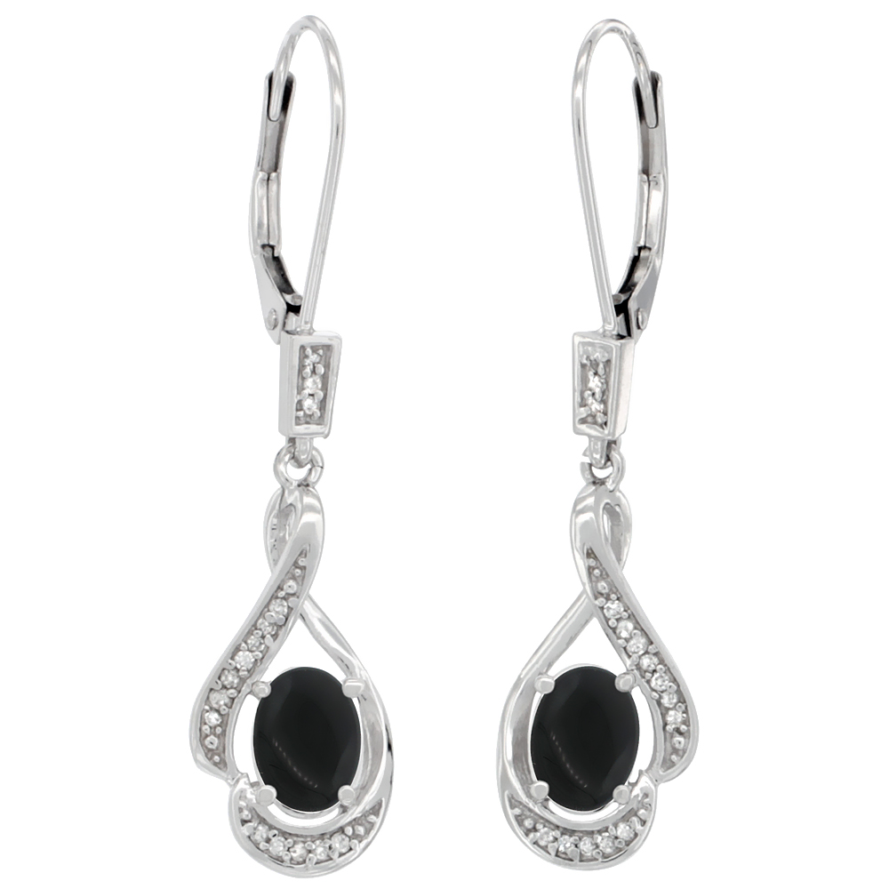 14K White Gold Diamond Natural Black Onyx Leverback Earrings Oval 7x5 mm, 1 7/16 inch long