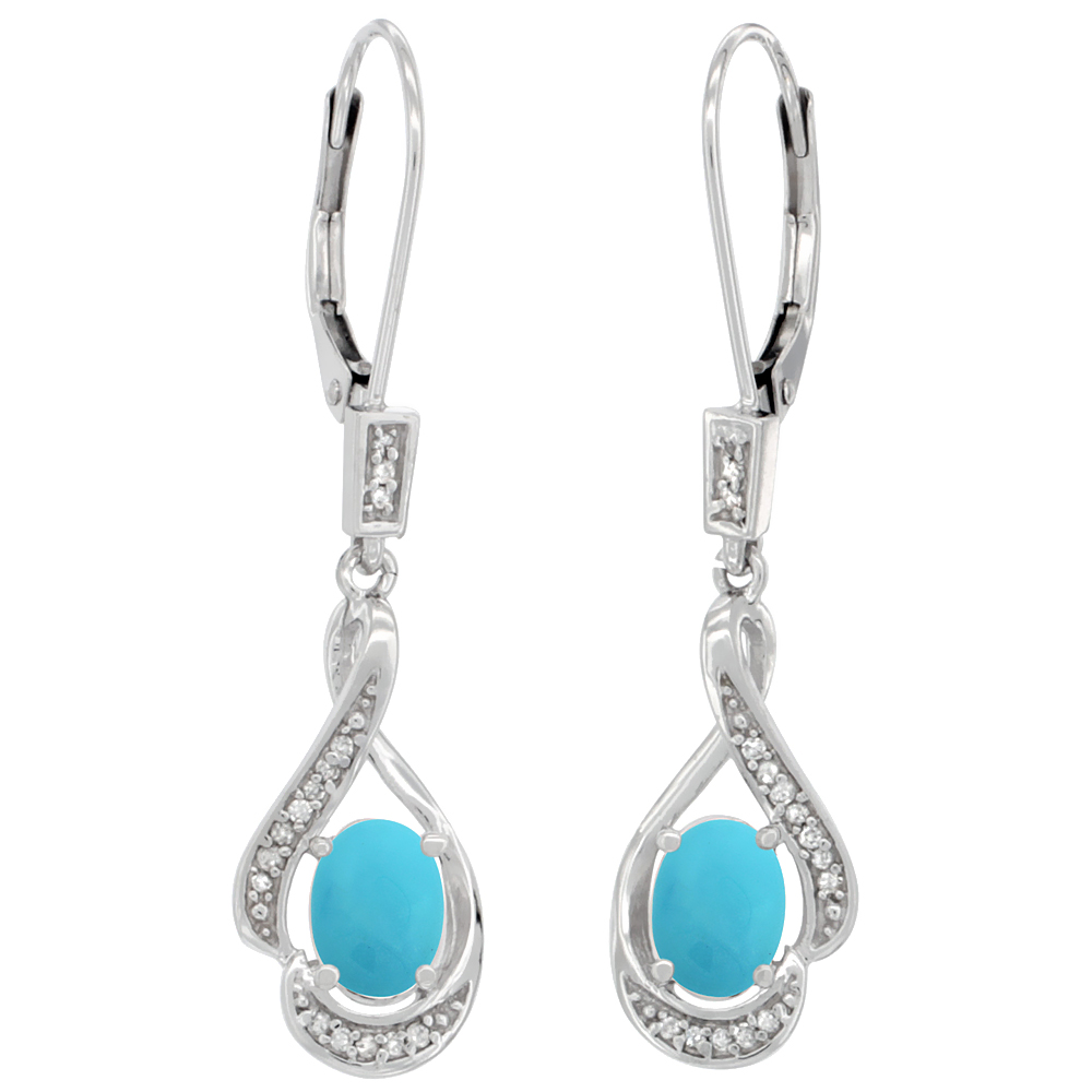 14K White Gold Natural Turquoise Oval 7x5 mm Lever Back Earrings, 1 7/16 inch long