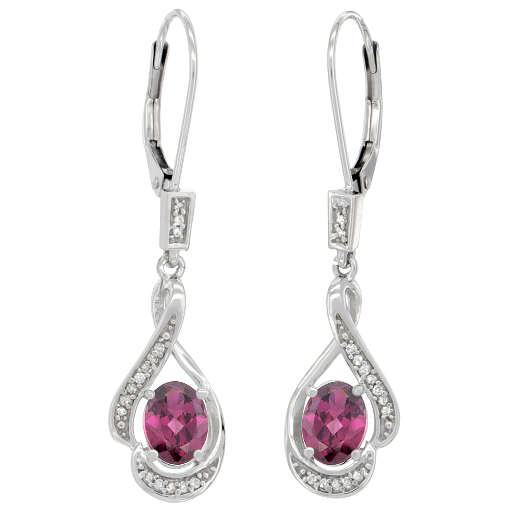 14K White Gold Diamond Natural Rhodolite Leverback Earrings Oval 7x5 mm, 1 7/16 inch long
