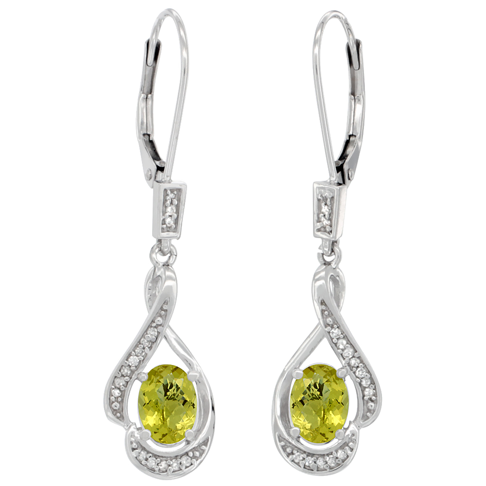 14K White Gold Natural Lemon Quartz Oval 7x5 mm Lever Back Earrings, 1 7/16 inch long