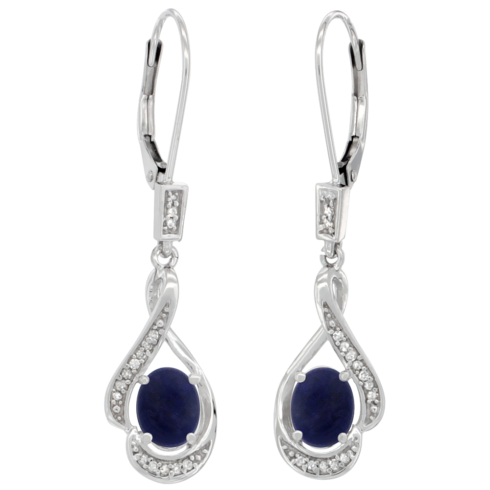 14K White Gold Natural Lapis Oval 7x5 mm Lever Back Earrings, 1 7/16 inch long