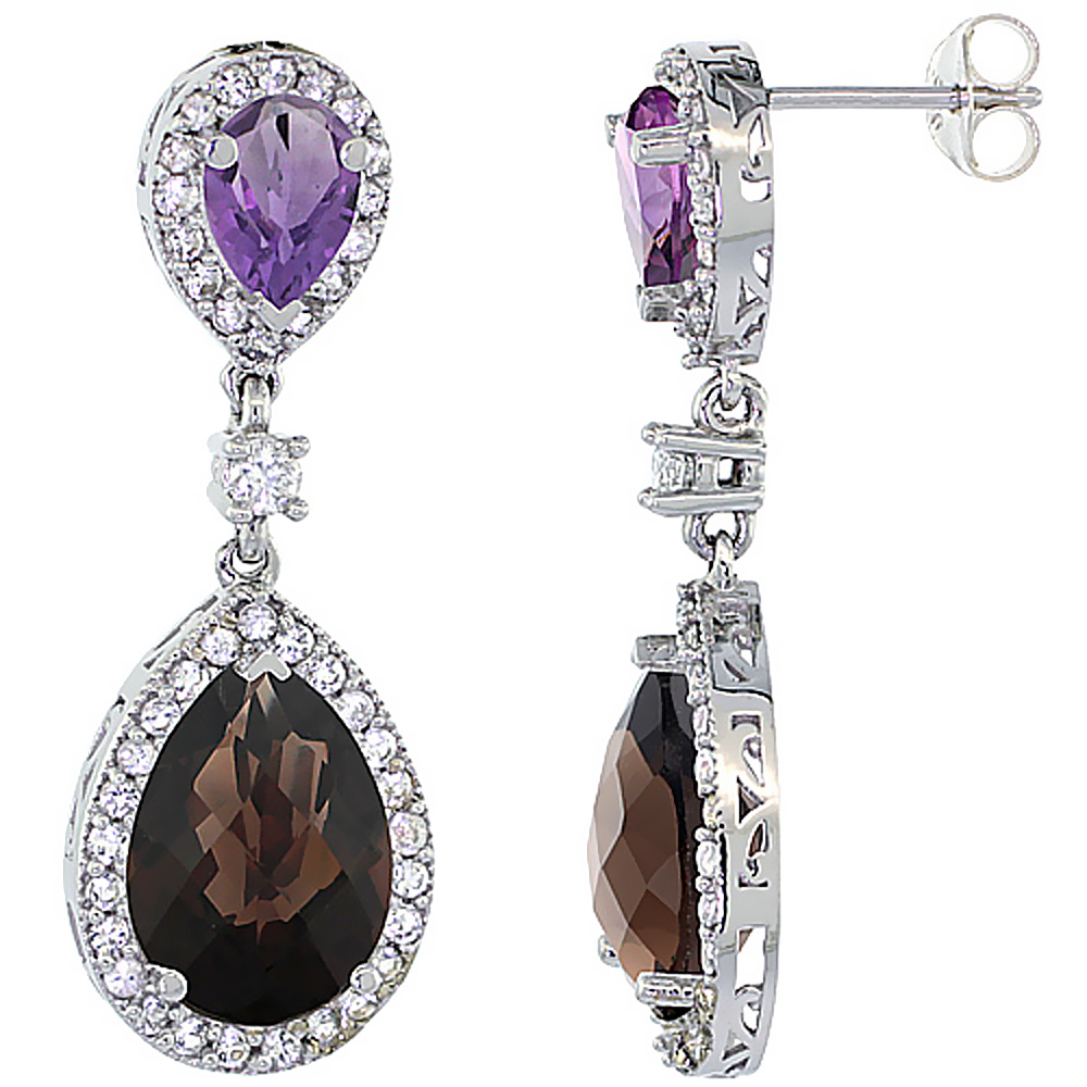 14K White Gold Natural Smoky Topaz & Amethyst Teardrop Earrings White Sapphire & Diamond