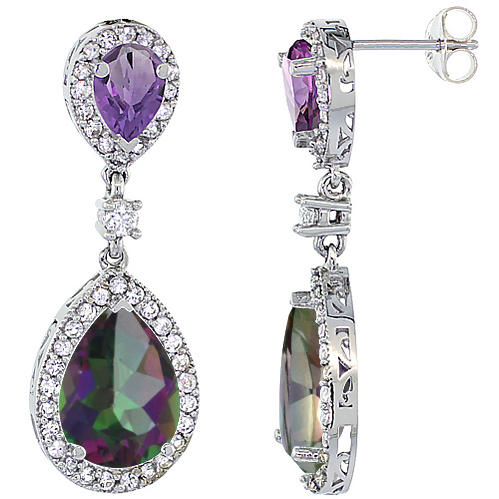 14K White Gold Natural Mystic Topaz & Amethyst Teardrop Earrings White Sapphire & Diamond