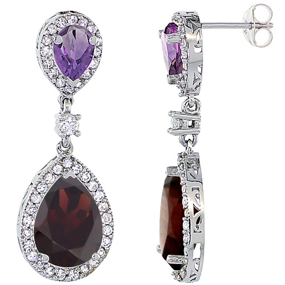 14K White Gold Natural Garnet & Amethyst Teardrop Earrings White Sapphire & Diamond