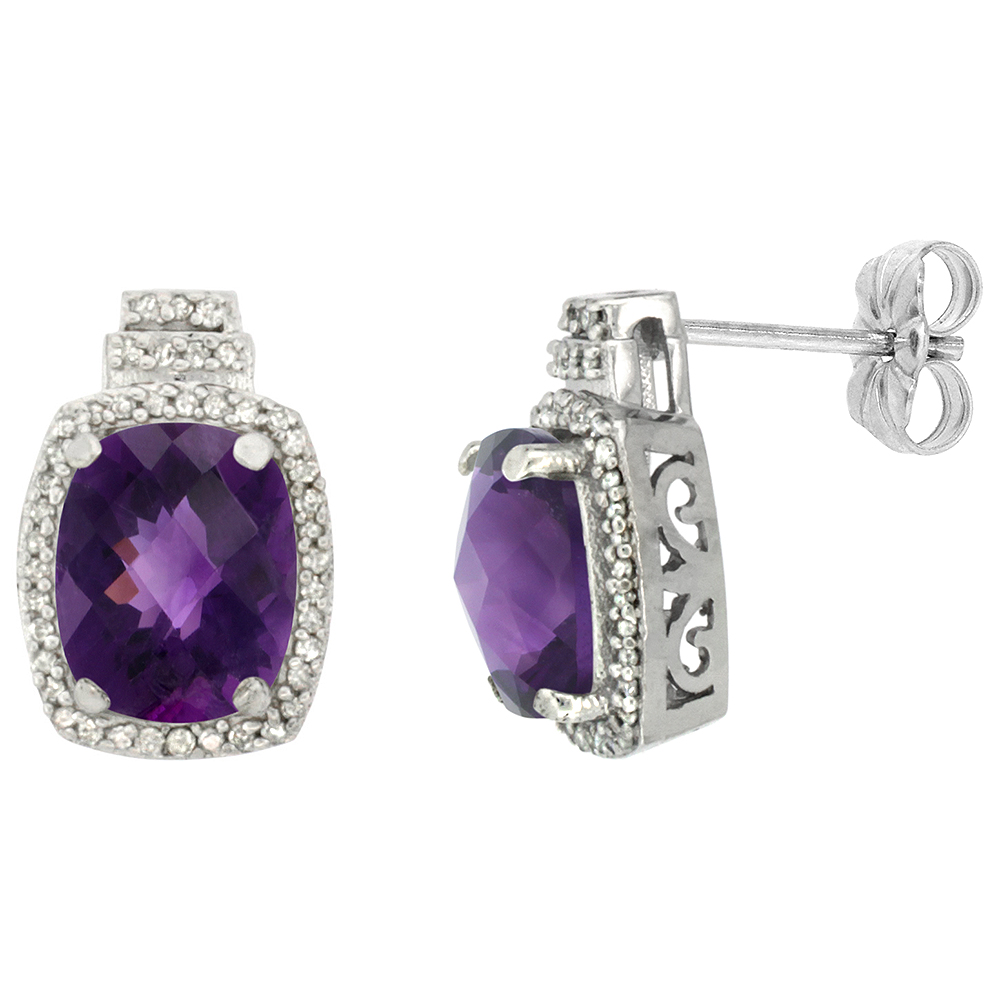 10K White Gold 0.29 cttw Diamond Natural Amethyst Earrings Octagon Cushion 8x6 mm