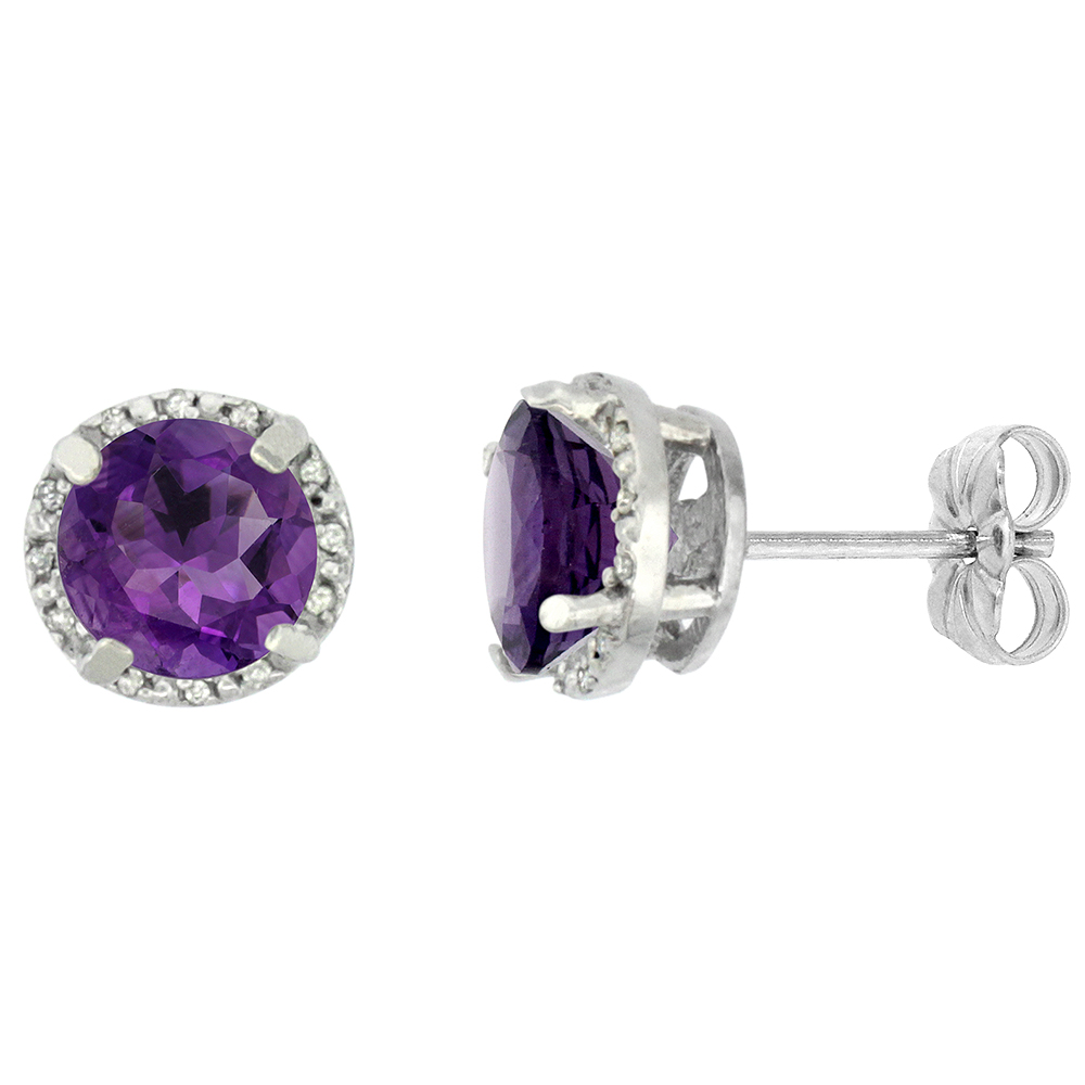 10K White Gold 0.06 cttw Diamond Natural Amethyst Earrings Round 7x7 mm