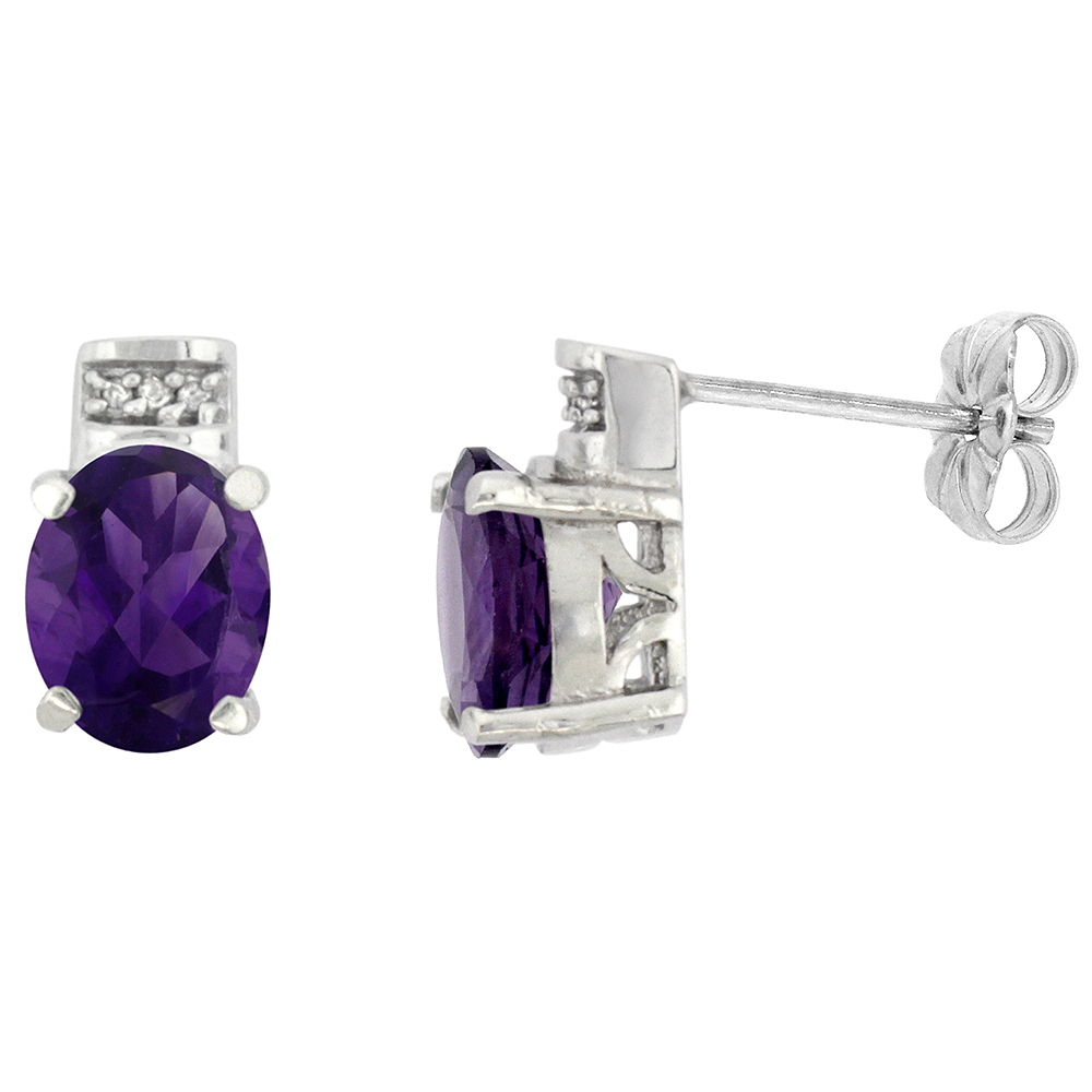10K White Gold Diamond Natural Amethyst Earrings Oval 8x6 mm