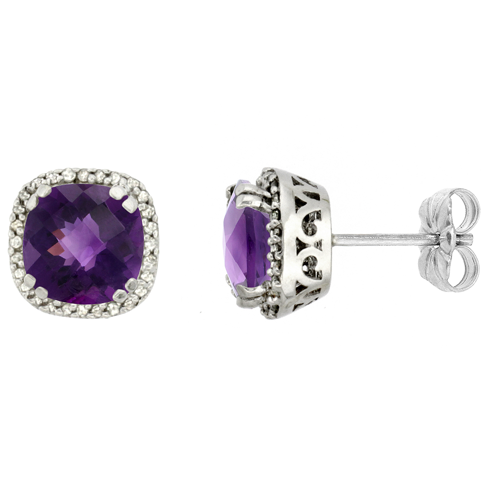 10k White Gold Diamond Halo Natural Amethyst Stud Earrings Cushion Shaped 7x7 mm