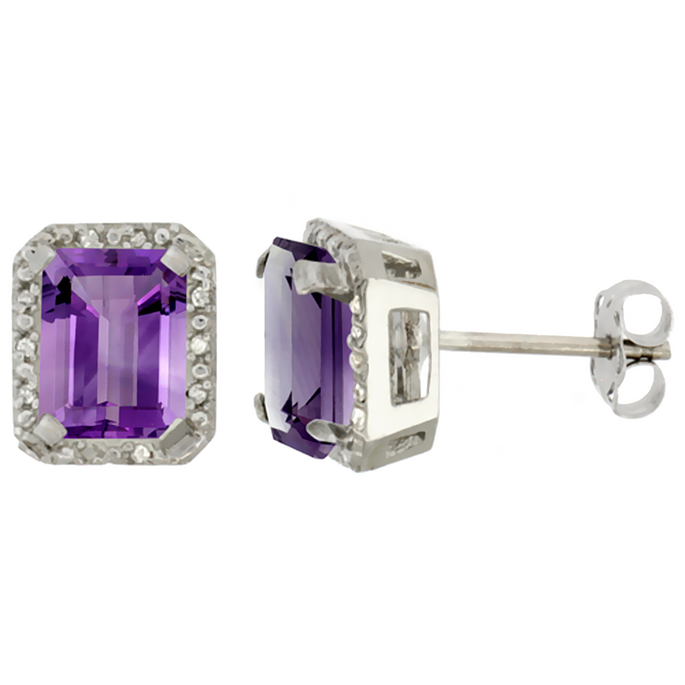 10K White Gold Diamond Natural Amethyst Earrings Octagon 8x6 mm