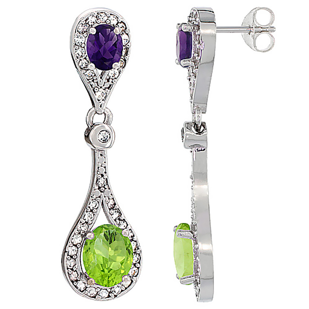 14K White Gold Natural Peridot & Amethyst Oval Dangling Earrings White Sapphire & Diamond Accents, 1 3/8 inches long