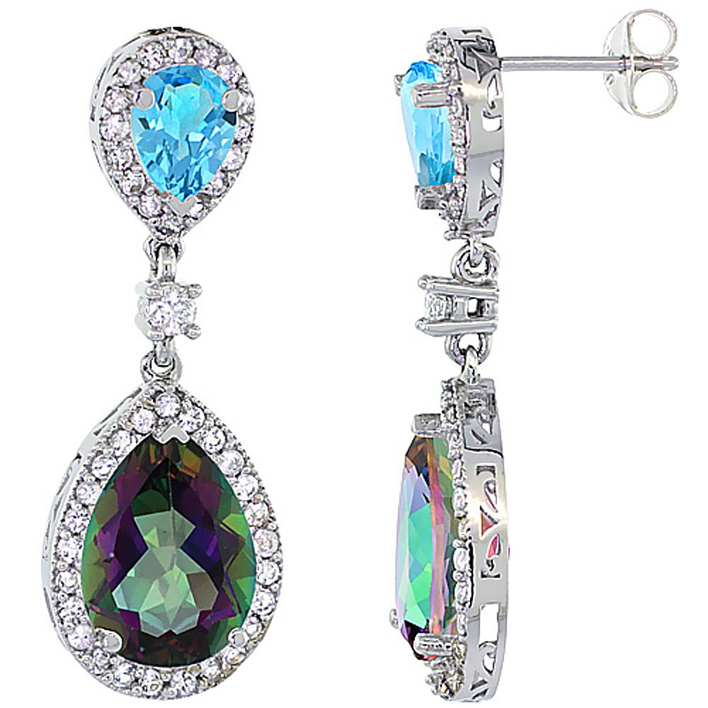 14K White Gold Natural Mystic & Swiss Blue Topazes Teardrop Earrings White Sapphire & Diamond