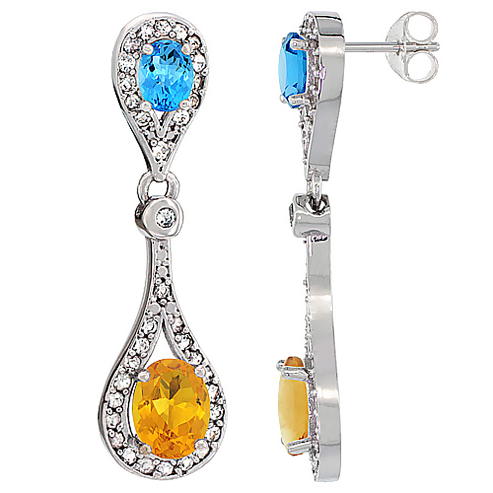 14K White Gold Natural Citrine & Swiss Blue Topaz Oval Dangling Earrings White Sapphire & Diamond Accents, 1 3/8 inches long