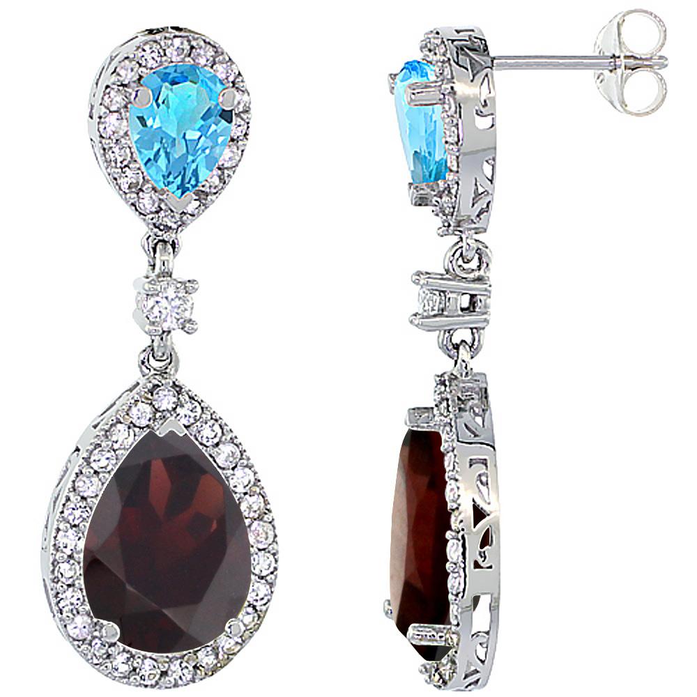 14K White Gold Natural Garnet & Swiss Blue Topaz Teardrop Earrings White Sapphire & Diamond
