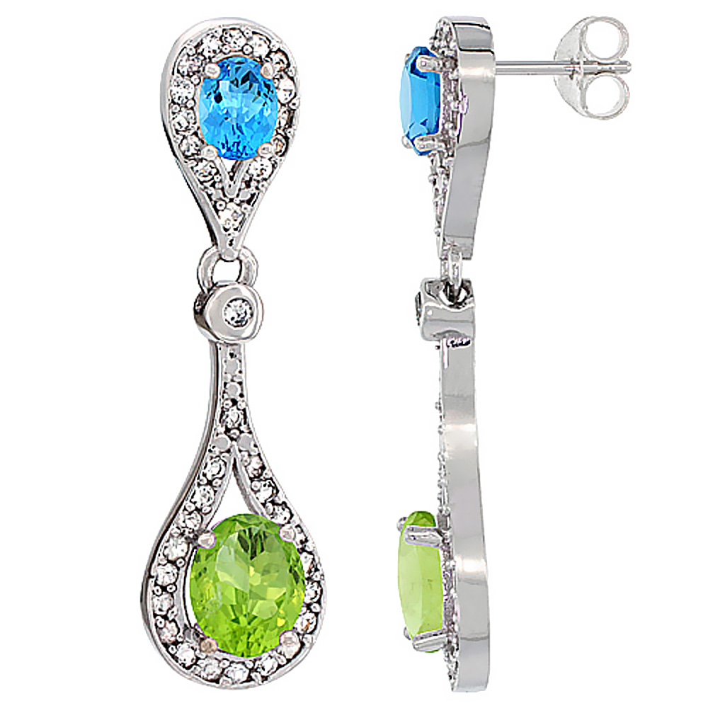 14K White Gold Natural Peridot & Swiss Blue Topaz Oval Dangling Earrings White Sapphire & Diamond Accents, 1 3/8 inches long