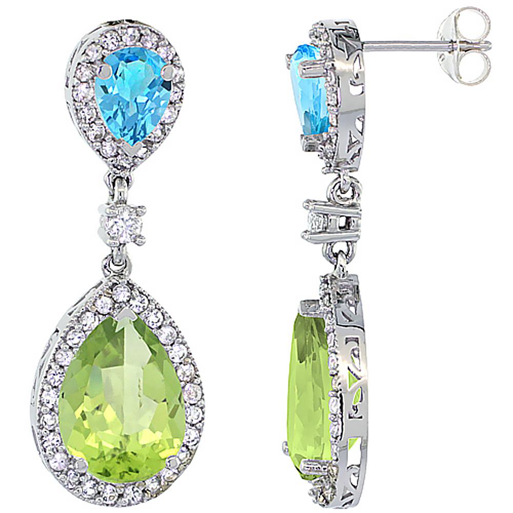 14K White Gold Natural Peridot & Swiss Blue Topaz Teardrop Earrings White Sapphire & Diamond