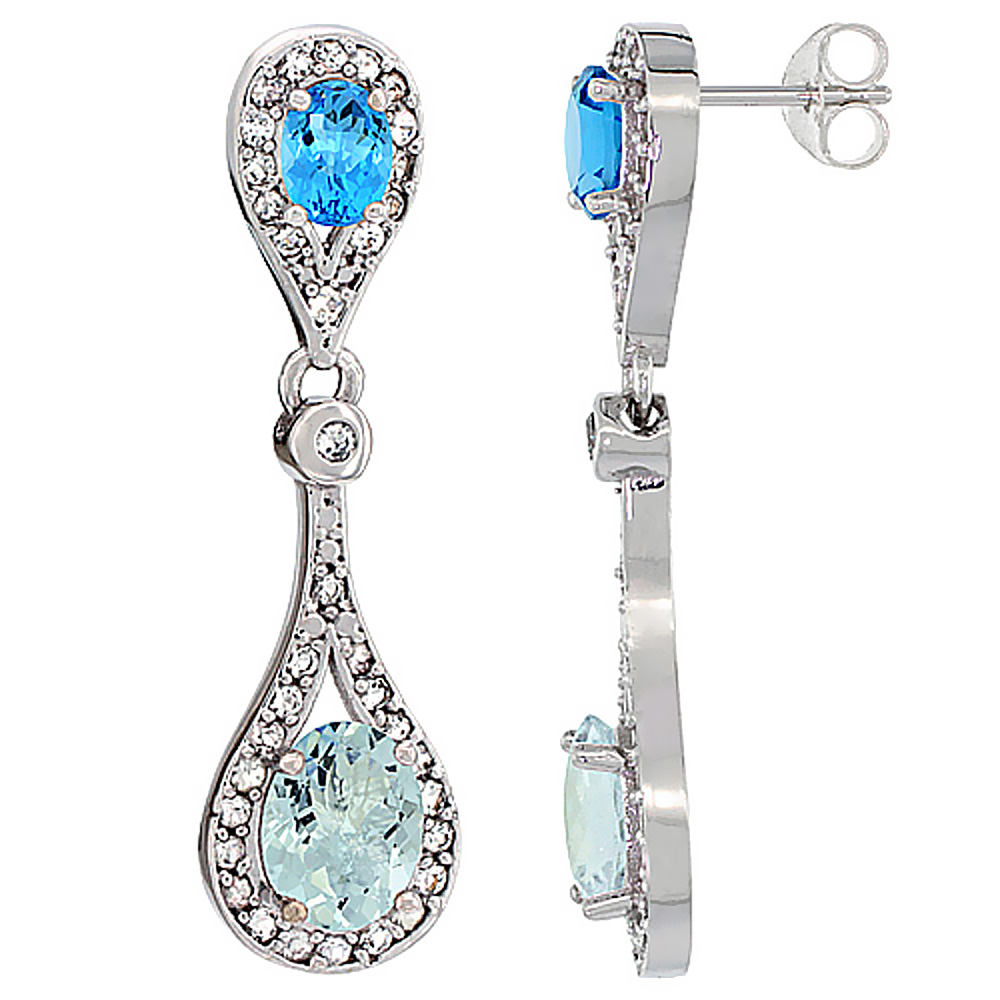14K White Gold Natural Aquamarine & Swiss Blue Topaz Oval Dangling Earrings White Sapphire & Diamond Accents, 1 3/8 inches long