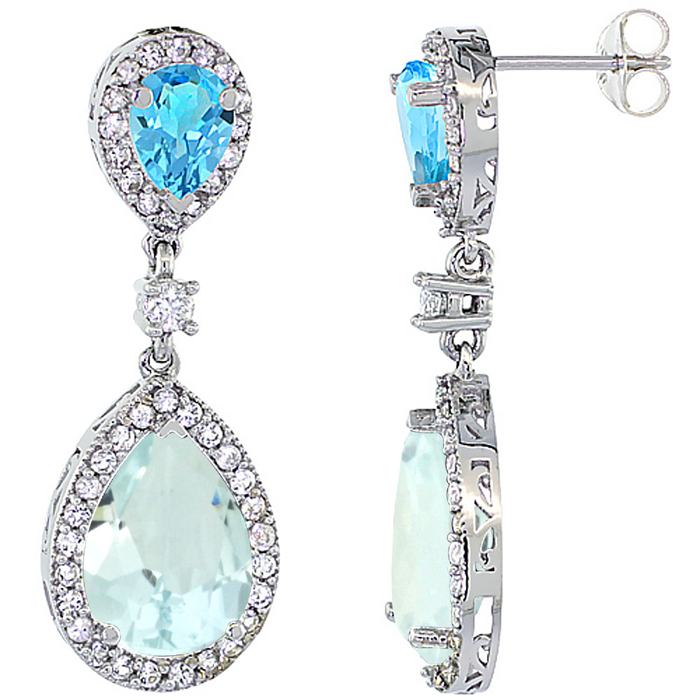 14K White Gold Natural Aquamarine & Swiss Blue Topaz Teardrop Earrings White Sapphire & Diamond